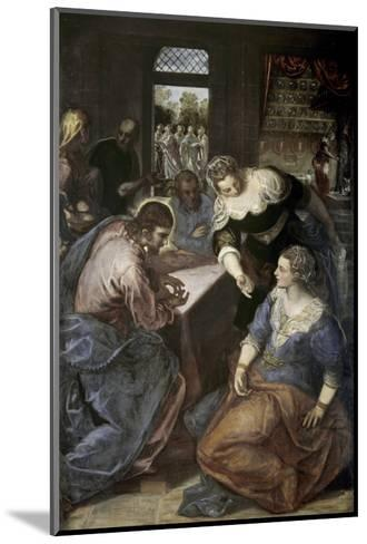 Christ in the House of Mary and Martha-Jacopo Robusti Tintoretto-Mounted Giclee Print
