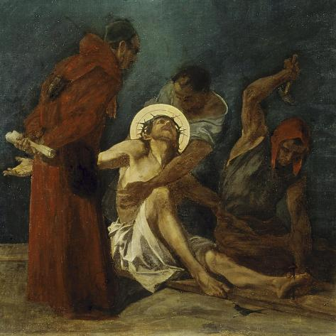 Jesus is Nailed to the Cross 11th Station of the Cross-Martin Feuerstein-Stretched Canvas Print