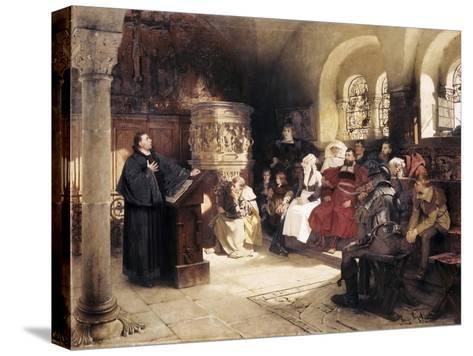 Martin Luther Preaches in Wartburg-Hugo Vogel-Stretched Canvas Print