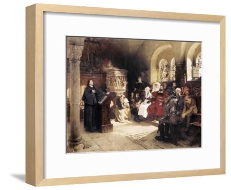 Martin Luther Preaches in Wartburg-Hugo Vogel-Framed Art Print