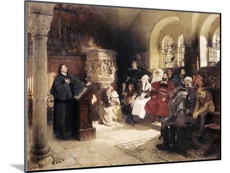 Martin Luther Preaches in Wartburg-Hugo Vogel-Mounted Giclee Print