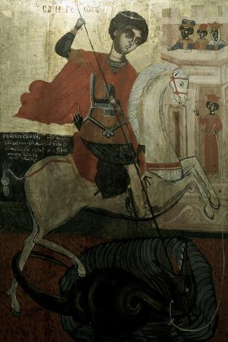 Saint George and the Dragon--Stretched Canvas Print