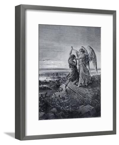 Jacob Wrestling with the Angel-Gustave Dor?-Framed Art Print