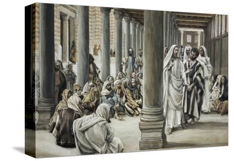 Jesus Walking on Solomon's Porch-James Tissot-Stretched Canvas Print