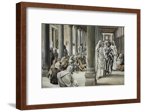 Jesus Walking on Solomon's Porch-James Tissot-Framed Art Print