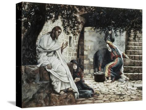 Magdalene at the Feet of Jesus-James Tissot-Stretched Canvas Print