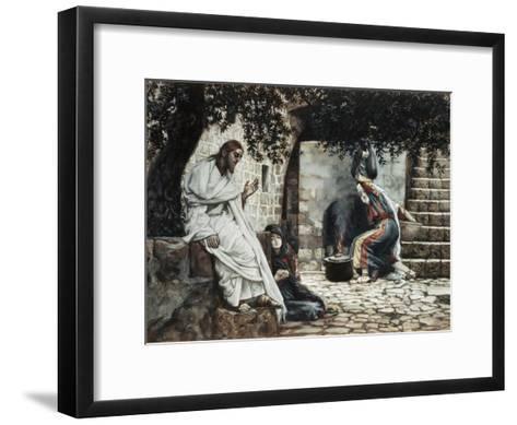 Magdalene at the Feet of Jesus-James Tissot-Framed Art Print