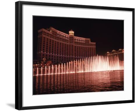 The Bellagio with Fountains at Night, Las Vegas, NV-Michele Burgess-Framed Art Print