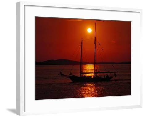 Silhouetted Sailboat, Rockport, Maine-Russell Burden-Framed Art Print