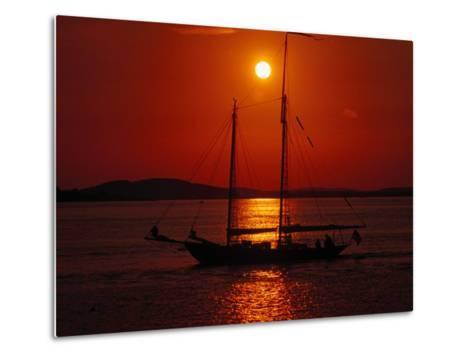 Silhouetted Sailboat, Rockport, Maine-Russell Burden-Metal Print