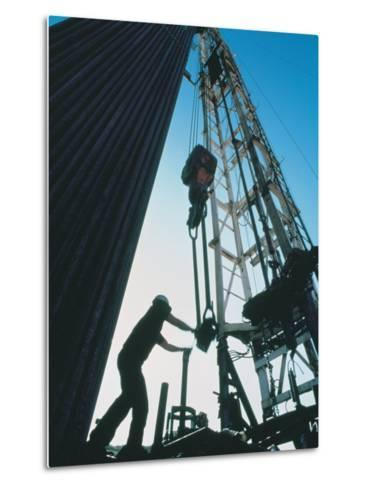 Roughneck Working on Oil Rig-Stephen Collector-Metal Print