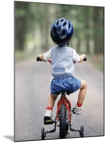 Little Boy Riding His Bicycle with Helmet-David Davis-Mounted Photographic Print