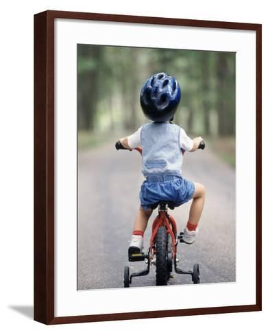 Little Boy Riding His Bicycle with Helmet-David Davis-Framed Art Print