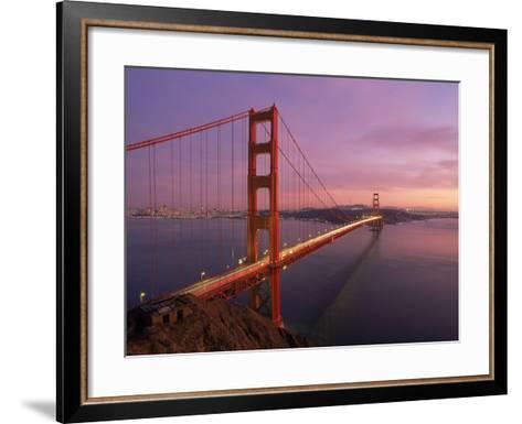 Golden Gate Bridge at Sunset, CA-Kyle Krause-Framed Art Print