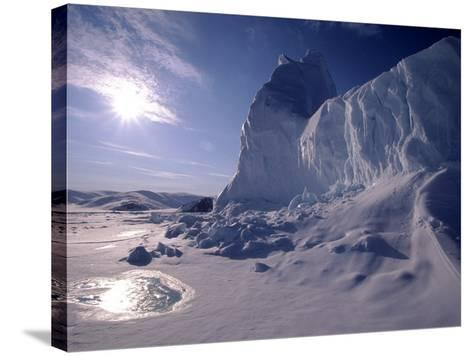 Iceberg and Meltwater Pool, Baffin Island, Nunavut, CA-Yvette Cardozo-Stretched Canvas Print