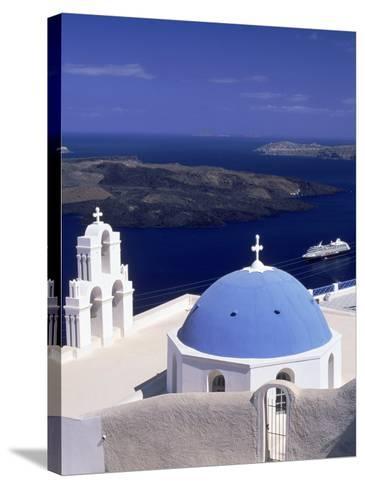 Kimisis Theotokov Church, Santorini, Greece-Walter Bibikow-Stretched Canvas Print