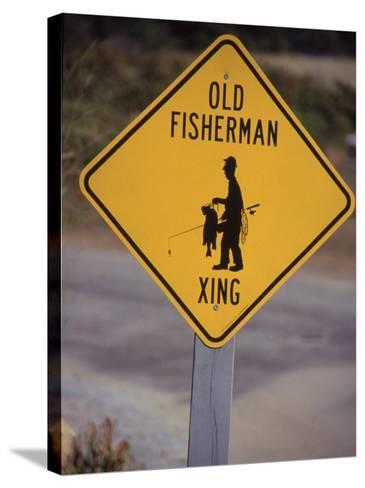 Old Fisherman Crossing Sign, Westerly Beach, RI--Stretched Canvas Print