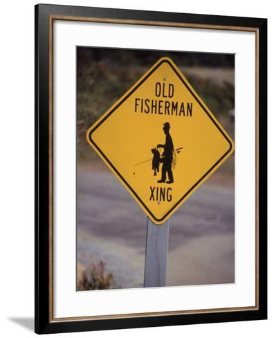 Old Fisherman Crossing Sign, Westerly Beach, RI--Framed Art Print