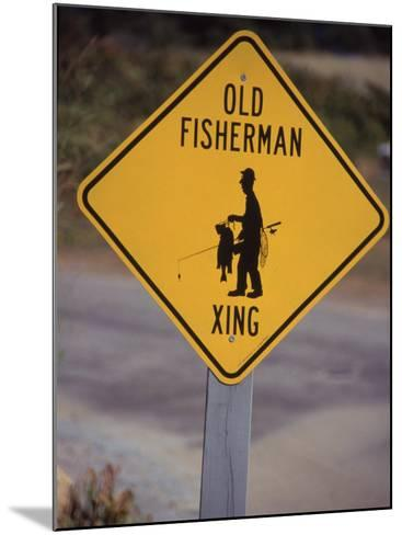 Old Fisherman Crossing Sign, Westerly Beach, RI--Mounted Photographic Print