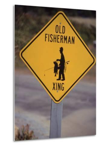 Old Fisherman Crossing Sign, Westerly Beach, RI--Metal Print