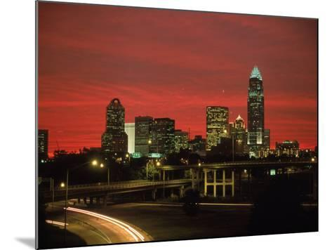 Skyline & Highway at Night, Charlotte, NC-Jim McGuire-Mounted Photographic Print