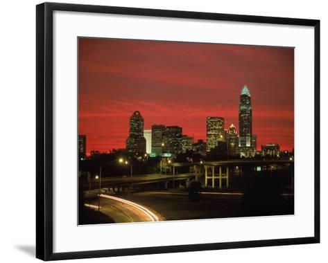 Skyline & Highway at Night, Charlotte, NC-Jim McGuire-Framed Art Print