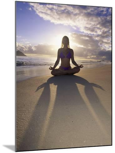 Woman Meditating on Beach-Tomas del Amo-Mounted Photographic Print