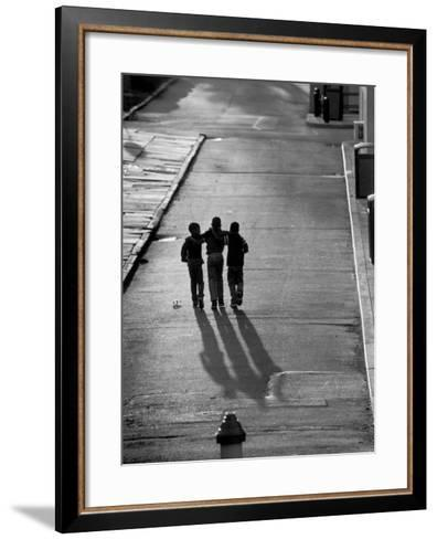 Three Boys Walking Down Street Arm in Arm-Len Rubenstein-Framed Art Print