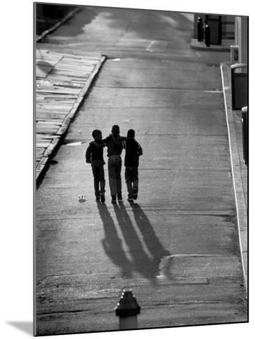 Three Boys Walking Down Street Arm in Arm-Len Rubenstein-Mounted Photographic Print