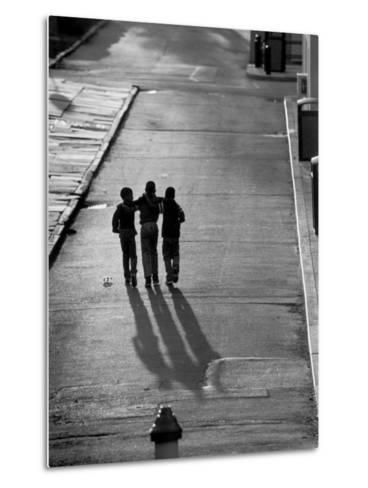 Three Boys Walking Down Street Arm in Arm-Len Rubenstein-Metal Print