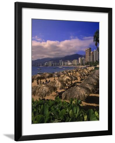 Beachfront on Playa Icacos, Acapulco, Mexico-Walter Bibikow-Framed Art Print