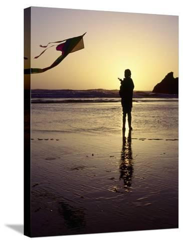 Girl Flying Kite on Beach, Cape Sebastian, OR-Jim Corwin-Stretched Canvas Print