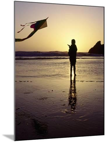 Girl Flying Kite on Beach, Cape Sebastian, OR-Jim Corwin-Mounted Photographic Print