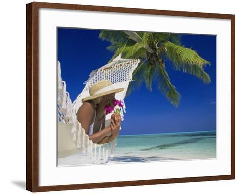 Woman Lying in a Hammock, Maldives Island-Angelo Cavalli-Framed Art Print