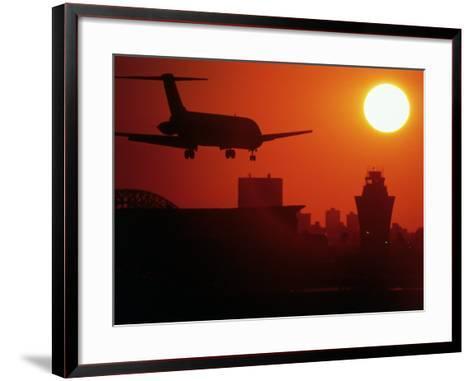 Airplane Descending at Dawn-Charles Blecker-Framed Art Print