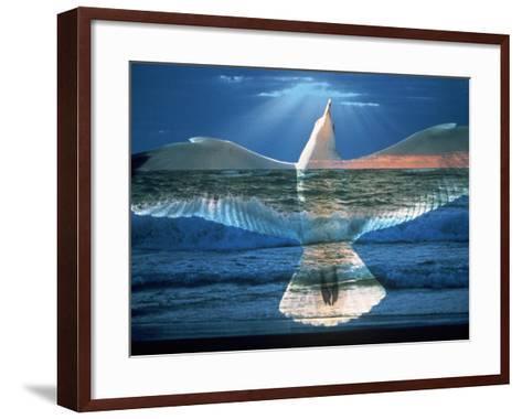 Bird Superimposed Over Ocean-Whitney & Irma Sevin-Framed Art Print