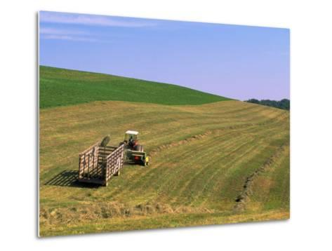 Tractor Pulling Container of Hay, Ohio-Jeff Friedman-Metal Print