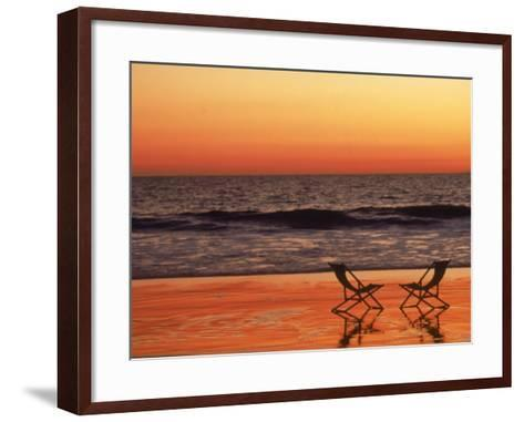 Silhouette of Two Chairs on the Beach-Mitch Diamond-Framed Art Print