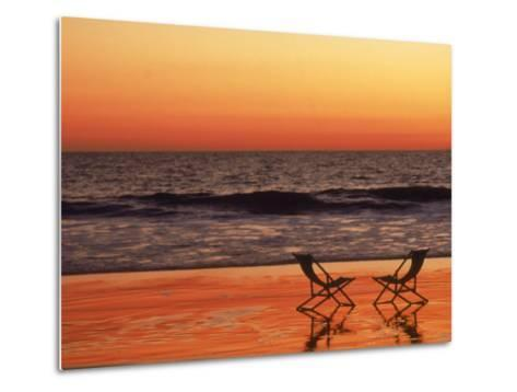 Silhouette of Two Chairs on the Beach-Mitch Diamond-Metal Print