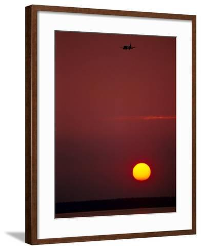 Sunset & Plane Over the Pacific Ocean-Hal Gage-Framed Art Print