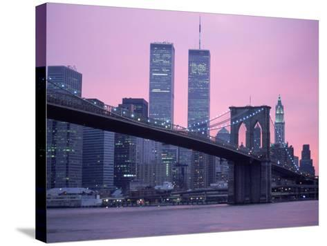 Brooklyn Bridge, Twin Towers, NYC, NY-Barry Winiker-Stretched Canvas Print