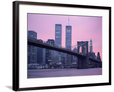 Brooklyn Bridge, Twin Towers, NYC, NY-Barry Winiker-Framed Art Print