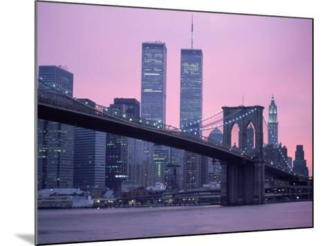 Brooklyn Bridge, Twin Towers, NYC, NY-Barry Winiker-Mounted Photographic Print