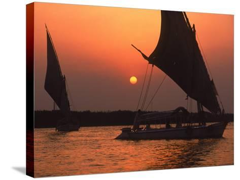 Felucca on Nile at Sunset, Cairo, Egypt-Steve Starr-Stretched Canvas Print