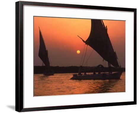 Felucca on Nile at Sunset, Cairo, Egypt-Steve Starr-Framed Art Print