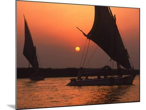 Felucca on Nile at Sunset, Cairo, Egypt-Steve Starr-Mounted Photographic Print