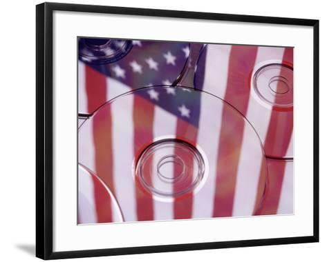 Cds with Reflection of American Flag-Jim Corwin-Framed Art Print