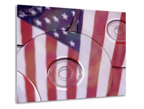 Cds with Reflection of American Flag-Jim Corwin-Metal Print
