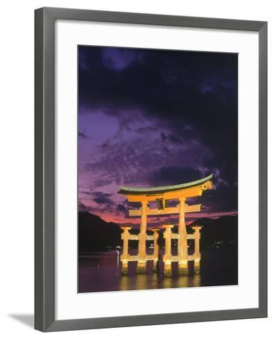 Floating Torii with Dark Clouds, Japan-Walter Bibikow-Framed Art Print