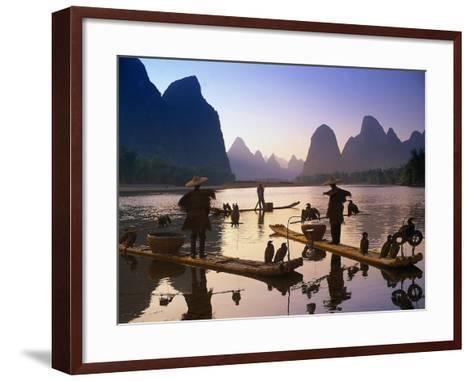 Cormorant, Fisherman, China-Peter Adams-Framed Art Print